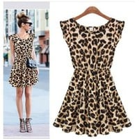 Women One Piece Dress Leopard Print Casual Microfiber Sundress Big size M L XL 12054 (Large): Amazon.ca: Sports & Outdoors