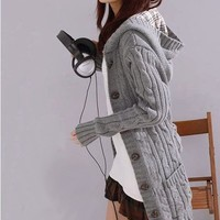 Hooded Cable Knit Cardigan from Fashionable