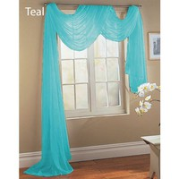 "Sheer Dreams Fully Stitched Window Curtain Sheer Voile Scarf (55"" X 216"") (Teal, 1 Sheer Voile Scarf)"