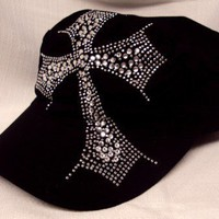 Crystal Cross Hat - Black | sassystrandsjewelry - Accessories on ArtFire