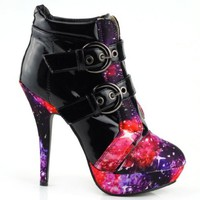 Show Story Punk Buckle Night Sky High Heel Stiletto Platform Ankle Boots,LF30301