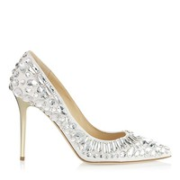 Chalk Nappa Pointy Toe Pumps with Crystals | Cruise 2013 | JIMMY CHOO Pumps
