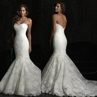 New Lace mermaid wedding dress white ivory wedding dress formal evening dress custom size