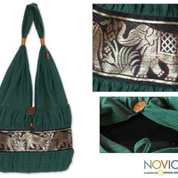 Cotton 'Emerald Thai' Shoulder Bag (Thailand) | Overstock.com