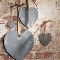 Zinc Hearts with Jute Ribbon