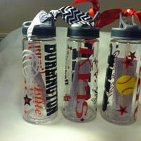 Personalized Water Bottles 22oz. w/spill proof top Cheer, Volleyball, Dance, Softball,