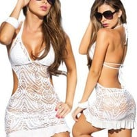 Sexy White Beach Swimwear Sheer Crochet Cover Up Dress