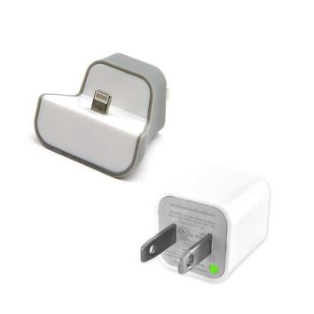 Gray/ White Wall Mount Mini Dock USB Charger & USB Wall Charger Adapter Bundle for Apple iPhone 5/ iPod Touch 5