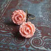Pink Cabbage Rose Earrings | Luulla