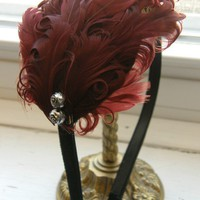 Victorian Scarlet/Burgundy Feathers on Black by PullingPetals