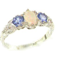 Ladies Solid Sterling Silver Natural Opal & Tanzanite English Victorian Style Trilogy Ring - Finger Sizes 5 to 12 Available
