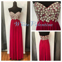 Long Red Bead Prom Dress Formal Dress Mint Peach Coral Homecoming Dress Party Dress Graduation Dress Cheap Custom Evening Dress