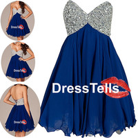 Dark blue Short prom dress,Homecoming dresses,evening dresses 2014,Party Dresses,cocktail dress,Formal Dress