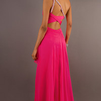 Long One Shoulder Pink Dress