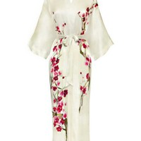 Old Shanghai Women's Silk Kimono- Handpainted (Long) - Cherry Blossom Design, White