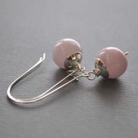 Pink Glass Earrings, Hollow Blown Glass Earrings, Pale Pink, Light Weight Dangle