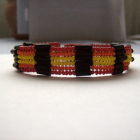 Red, Orange, Yellow, Beaded Bracelet, Cuff Bracelet, Beadwoven Bracelet, Herringbone Stitch, 7 inch, Metal Free