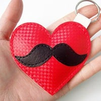 Moustache Love Keyring by yummypocket on Etsy