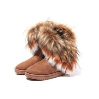 Amazon.com: Generic New Winter Fashion Warm Fox+Rabbit Fur Snow Boots Real Leather 4 Colour Tall (women 36, Blue): Clothing