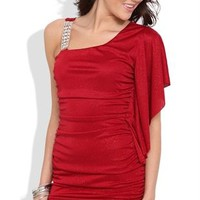 Glitter One Shoulder Dress with Flutter Sleeve and Ruched Body