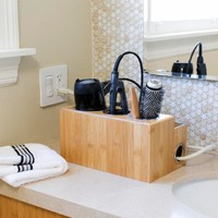 Bamboo Countertop Hair Styling Center: Organizer For Bathroom or Vanity By: Great Useful Stuff