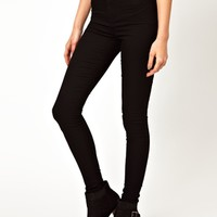 ASOS Uber High Waist Denim Jeggings in Clean Black