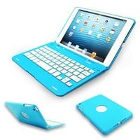 Kamor® Apple iPad mini Keyboard Case High Quality Cover with Ultra Slim Bluetooth Keyboard for 7.9 inch New iPad Mini, Folio Style with IOS Commands - Blue