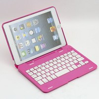 O-SKY 135 Rotating Angle Wireless Bluetooth Keyboard Case Cover Stand Combo for Apple iPad Mini Aluminum Pink for Women Girls