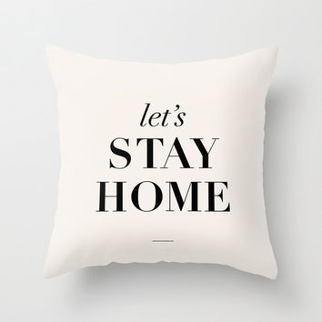 """Typography Pillow """"Let's Stay Home"""" Bedroom Living Room Home Decor"""