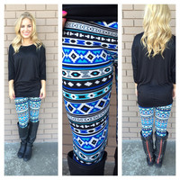 Blue Aztec Print Leggings