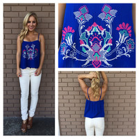 Royal Blue Sunshine Embroidered Tank