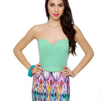 Cute Mint Green Top - Strapless Top - Bustier Top - $31.00