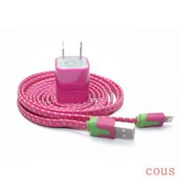 Tangle Free Fabric Braided 2M 6FT Flat Noodle 8 Pin USB Sync Data Charger Cable + 1 Amp AC Power Adapter for iPhone 5 5C 5S iPod touch 5th iPad Mini (Hot Pink)
