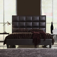 Queen Size Modern Bed with Faux Leather Headboard