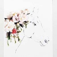 Uno The Horse Print by Anthropologie Green One Size Wall Decor