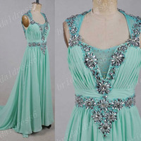 2014 Mint Crystals V-Neck Sheer Straps Backless Long Ruffled A-Line Bridesmaid Dress,Court Train Chiffon Evening Party Prom Dress