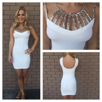 White & Gold Sequin Aimee Dress