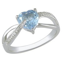 Diamond and Blue Topaz Heart Ring