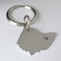 Hand-Stamped Ohio Keychain- Personalized State of Ohio Keychain