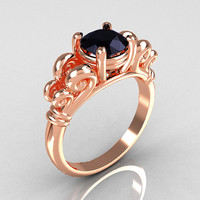 Modern Antique 10K Pink Gold 1.0 Carat Round Black Diamond Designer Solitaire Ring R141-10KPGBD