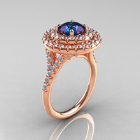 Classic Soleste 14K Rose Gold 1.0 Ct Chrysoberyl Alexandrite Diamond Ring R236-14RGDAL