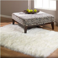 2' x 3' - Shaggy White Faux Fur Sheep Skin Accent Rug