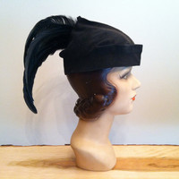 1920s Black Suede Feather Hat 20s Flapper Hat