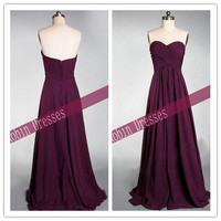 New Custom-made Strapless Sweetheart Long Purple Chiffon Bridesmaid Dresses Prom Dresses
