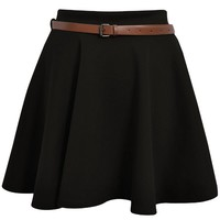Ditzy Fashion Women's News Belted Skater Flared Jersey Plain Mini Party Dress Skirt Small / Medium Black