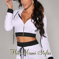 White Black Faux Leather Trim Cropped Jacket