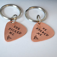 Personalized Guitar Pick Couple Keychain Set | Hand Stamped Guitar Pick Keychains