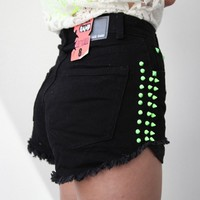 FESTIVAL BLACK NEON GREEN SPIKE SPIKED STUD DENIM CUT OFF SHORTS 7 8 10 12
