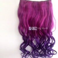 2013 New Two Tone One Piece Long Curl/curly/wavy Synthetic Thick Hair Extensions Clip-on Hairpieces 16 Colors(dark Purple to Rose Red)))
