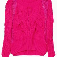 Pink Cable Knit Lace Contrast Sweater